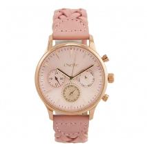 Oxette ρολόι 11X65-00188 από ανοξείδωτο ατσάλι με ροζ χρυσή επιμετάλλωση στην κάσα και δερμάτινο λουράκι.