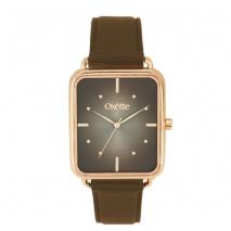 Oxette ρολόι 11X65-00197 από ανοξείδωτο ατσάλι με ροζ χρυσή επιμετάλλωση στην κάσα και δερμάτινο λουράκι.