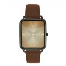 Oxette ρολόι 11X65-00198 από ανοξείδωτο ατσάλι με μαύρη επιμετάλλωση στην κάσα και δερμάτινο λουράκι.