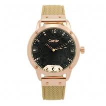 Oxette ρολόι 11X75-00235 από ανοξείδωτο ατσάλι με ροζ χρυσή επιμετάλλωση στην κάσα και δερμάτινο λουράκι.