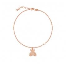 Loisir βραχιόλι 02L05-01016 αρκουδάκι από ροζ επιχρυσωμένο ασήμι 925ο με ημιπολύτιμες πέτρες (Πέρλες)