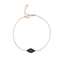 Loisir βραχιόλι 02L05-01025 μάτι από ροζ επιχρυσωμένο ασήμι 925ο με ημιπολύτιμες πέτρες (Ζιργκόν)