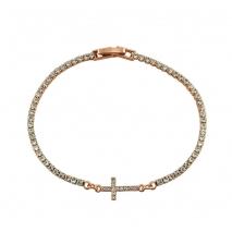 Loisir βραχιόλι 02L15-00209 σταυρός από ροζ ορείχαλκο με ημιπολύτιμες πέτρες (Ζιργκόν)