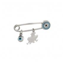 Loisir καρφίτσα παραμάνα 06L01-00412 βατραχάκι για αγόρι από επιπλατινωμένο ασήμι 925ο με ημιπολύτιμες πέτρες (Σμάλτο και Ματάκι)