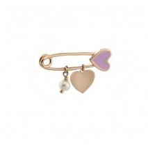 Loisir καρφίτσα παραμάνα 06L05-00030 καρδιά για κορίτσι από ροζ επιχρυσωμένο ασήμι 925ο με ημιπολύτιμες πέτρες (Πέρλες και Σμάλτο)