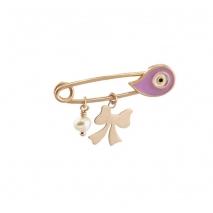 Loisir καρφίτσα παραμάνα 06L05-00031 φιόγκος για κορίτσι από ροζ επιχρυσωμένο ασήμι 925ο με ημιπολύτιμες πέτρες (Πέρλες και Σμάλτο)