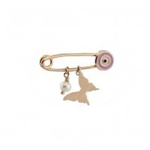 Loisir καρφίτσα παραμάνα 06L05-00032 πεταλούδα για κορίτσι από ροζ επιχρυσωμένο ασήμι 925ο με ημιπολύτιμες πέτρες (Πέρλες και Σμάλτο)