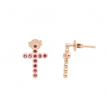 Loisir σκουλαρίκια 03L15-00100 σταυρός από ροζ ορείχαλκο με ημιπολύτιμες πέτρες (Ζιργκόν)