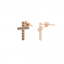 Loisir σκουλαρίκια 03L15-00102 σταυρός από ροζ ορείχαλκο με ημιπολύτιμες πέτρες (Ζιργκόν)