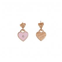 Loisir σκουλαρίκια 03L15-00111 καρδιές από ροζ ορείχαλκο με ημιπολύτιμες πέτρες (Σμάλτο και Κρύσταλλοι Quartz)