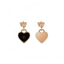 Loisir σκουλαρίκια 03L15-00112 καρδιές από ροζ ορείχαλκο με ημιπολύτιμες πέτρες (Σμάλτο και Κρύσταλλοι Quartz)