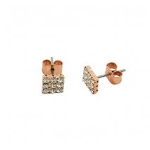 Loisir σκουλαρίκια 03L15-00133 τετράγωνα από ροζ ορείχαλκο με ημιπολύτιμες πέτρες (Κρύσταλλοι Quartz)