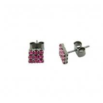 Loisir σκουλαρίκια 03L15-00134 τετράγωνα από ασημί ορείχαλκο με ημιπολύτιμες πέτρες (Κρύσταλλοι Quartz)
