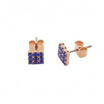 Loisir σκουλαρίκια 03L15-00136 τετράγωνα από ροζ ορείχαλκο με ημιπολύτιμες πέτρες (Κρύσταλλοι Quartz)