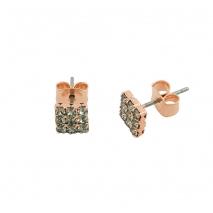 Loisir σκουλαρίκια 03L15-00137 τετράγωνα από ροζ ορείχαλκο με ημιπολύτιμες πέτρες (Κρύσταλλοι Quartz)