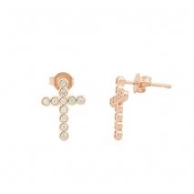 Loisir σκουλαρίκια 03L15-00148 σταυρός από ροζ ορείχαλκο με ημιπολύτιμες πέτρες (Ζιργκόν)