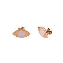 Loisir σκουλαρίκια 03L27-00465 μάτι από ανοξείδωτο ατσάλι (Stainless Steel) με ημιπολύτιμες πέτρες (Σμάλτο) και Ion Plated Rose Gold