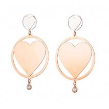 Loisir σκουλαρίκια 03L27-00493 καρδιές από ανοξείδωτο ατσάλι (Stainless Steel) με ημιπολύτιμες πέτρες (Κρύσταλλοι Quartz) και Ion Plated Rose Gold