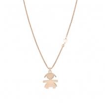 Loisir κολιέ 01L05-01357 κοριτσάκι από ροζ επιχρυσωμένο ασήμι 925ο με ημιπολύτιμες πέτρες (Πέρλες)
