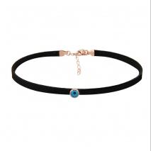 Loisir κολιέ 01L05-01366 τσόκερ από ροζ επιχρυσωμένο ασήμι 925ο με ημιπολύτιμες πέτρες (Ματάκι)