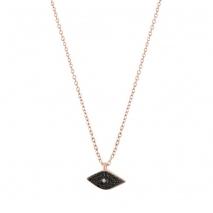 Loisir κολιέ 01L05-01368 μάτι από ροζ επιχρυσωμένο ασήμι 925ο με ημιπολύτιμες πέτρες (Ζιργκόν)