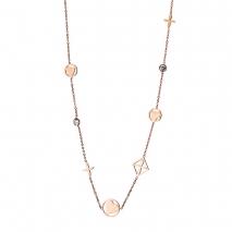 Loisir κολιέ 01L27-00619 καρδιά σταυρός από ανοξείδωτο ατσάλι (Stainless Steel) με ημιπολύτιμες πέτρες (Κρύσταλλοι Quartz) και Ion Plated Rose Gold