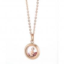 Loisir κολιέ 01L27-00647 Κοριτσάκι από ανοξείδωτο ατσάλι (Stainless Steel) με ημιπολύτιμες πέτρες (Ζιργκόν) και Ion Plated Rose Gold