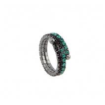 Loisir δαχτυλίδι 04L15-00026 από ασημί ορείχαλκο με ημιπολύτιμες πέτρες (Κρύσταλλοι Quartz)
