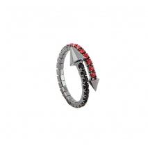 Loisir δαχτυλίδι 04L15-00029 από ασημί ορείχαλκο με ημιπολύτιμες πέτρες (Κρύσταλλοι Quartz)