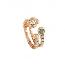 Loisir δαχτυλίδι 04L15-00058 από ροζ ορείχαλκο με ημιπολύτιμες πέτρες (Κρύσταλλοι Quartz)