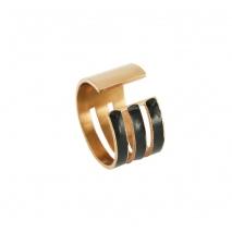 Loisir δαχτυλίδι 04L27-00674 από ανοξείδωτο ατσάλι (Stainless Steel) με ημιπολύτιμες πέτρες (Σμάλτο) και Ion Plated Rose Gold