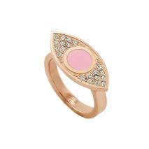 Loisir δαχτυλίδι 04L27-00683 μάτι από ανοξείδωτο ατσάλι (Stainless Steel) με ημιπολύτιμες πέτρες (Κρύσταλλοι Quartz και Σμάλτο) και Ion Plated Rose Gold