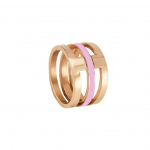 Loisir δαχτυλίδι 04L27-00694 από ανοξείδωτο ατσάλι (Stainless Steel) με ημιπολύτιμες πέτρες (Σμάλτο) και Ion Plated Rose Gold