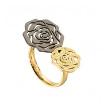 Loisir δαχτυλίδι 04L27-00705 λουλούδι από ανοξείδωτο ατσάλι (Stainless Steel) με Ion Plated Black και Gold