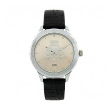 Loisir ρολόι 11L06-00373 με ασημί μεταλλική κάσα και δερμάτινο λουράκι.