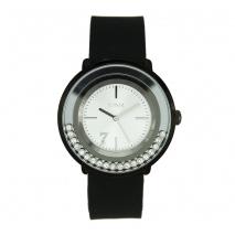 Loisir ρολόι 11L07-00268 με μαύρη μεταλλική κάσα και λουράκι σιλικόνης.