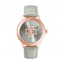 Loisir ρολόι 11L65-00101 από ανοξείδωτο ατσάλι με ροζ χρυσή επιμετάλλωση στην κάσα και δερμάτινο λουράκι.