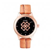 Loisir ρολόι 11L65-00103 από ανοξείδωτο ατσάλι με ροζ χρυσή επιμετάλλωση στην κάσα και δερμάτινο λουράκι.
