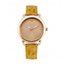 Loisir ρολόι 11L65-00126 με ροζ χρυσή μεταλλική κάσα και δερμάτινο λουράκι