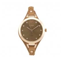 Loisir ρολόι 11L65-00128 με ροζ χρυσή μεταλλική κάσα και δερμάτινο λουράκι