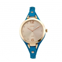 Loisir ρολόι 11L65-00131 με ροζ χρυσή μεταλλική κάσα και δερμάτινο λουράκι
