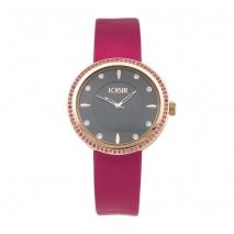 Loisir ρολόι 11L65-00135 με ροζ χρυσή μεταλλική κάσα και δερμάτινο λουράκι