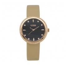 Loisir ρολόι 11L65-00136 με ροζ χρυσή μεταλλική κάσα και δερμάτινο λουράκι