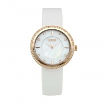 Loisir ρολόι 11L65-00138 με ροζ χρυσή μεταλλική κάσα και δερμάτινο λουράκι