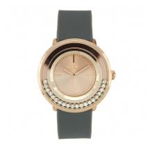 Loisir ρολόι 11L75-00269 με ροζ χρυσή μεταλλική κάσα και λουράκι από καουτσούκ.