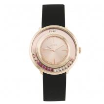 Loisir ρολόι 11L75-00271 με ροζ χρυσή μεταλλική κάσα και λουράκι από καουτσούκ.