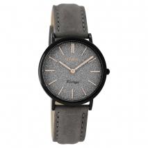 OOZOO Timepieces C8835 γυναικείο ρολόι με μαύρη μεταλλική κάσα και σκούρο γκρι δερμάτινο λουράκι