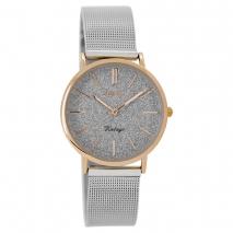 OOZOO Timepieces C8838 γυναικείο ρολόι με ροζ χρυσή μεταλλική κάσα και ασημί μπρασελέ