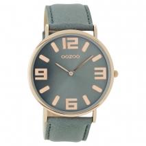 OOZOO Timepieces C8847 unisex ρολόι με ροζ χρυσή μεταλλική κάσα και γκρι δερμάτινο λουράκι