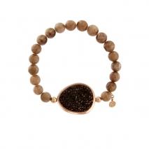 Oxette βραχιόλι 02X05-01597 από ροζ επιχρυσωμένο ασήμι 925ο με ημιπολύτιμες πέτρες (Αχάτης και Κρύσταλλοι Quartz)